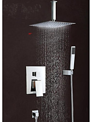 "10""Modern Rain Shower Faucet Set Valve Mixer Tap Hand Sprayer Wall Mount"