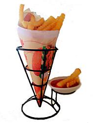 de metal francês fry ficar titular cesta cone de batatas fritas batatas fritas aperitivos (cor aleatória)
