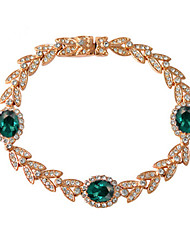 Imitation Emerald HKTC Noble 18k Rose Gold Plated Rhinestones Leaf and Emerald Green Crystals Princess Style Bracelet