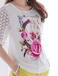 Women's Casual/Daily Cute Spring T-shirt,Floral Round Neck ½ Length Sleeve White Rayon Thin