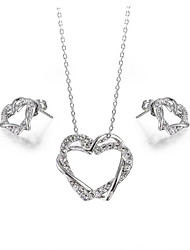HKTC Love Heart Design 18k White Gold Plated Wedding Cz Diamond Pendant Necklace and Earrings Sets