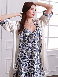 Two-Piece Leisurewear Summer Sling Nightgown Robe Nobility Sexy Ladies Pajamas