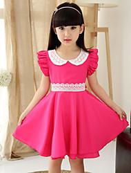 Girl's Summer Pan Collar Lace Stitching Sleeveless Dresses (Chiffon/Lace)