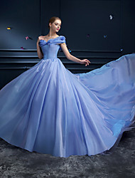 Formal Evening Dress - Ocean Blue Plus Sizes / Petite Ball Gown Off-the-shoulder Cathedral Train Organza