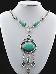 Vintage Look Antique Silver Black Lava Round Amethyst Turquoise CZ Crystal Necklace (1PC)