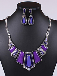 Jewelry Set Drop Earrings Bib necklaces Statement Jewelry Vintage Gemstone Crystal Cubic Zirconia Jewelry Black Purple Red Green Blue For