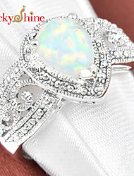 Statement Rings Silver Gemstone Drop Fashion Jewelry Party 1pc