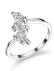 jazlyn femme authentique platine plaqué 925 coeur réglables anneau de mariage d'engagement de zircon cubique en argent