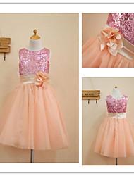 Beautiful A-line Princess Jewel Tea-length Sequined And Tulle Flower Girl Dress