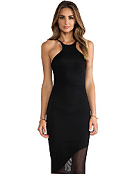 Women's Sexy Bodycon Cute Party Plus Sizes Micro Elastic Sleeveless Knee-length Dress (Mesh/Microfiber)
