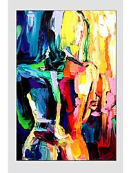 peinture à l'huile de style de figure moderne, matériel de toile avec cadre étiré prêt à accrocher taille: 60 * 90cm.