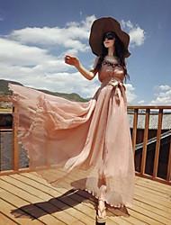 Women's Beach A Line / Loose / Swing Dress,Solid Round Neck Maxi Sleeveless Silk / Rayon Summer