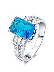 XM Women Model Of Luxury Square Silver Plated Emerald Zircon Ring