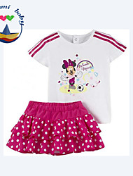 Girl's Summer Micro-elastic Thin Short Sleeve Clothing Sets (Cotton Blends)