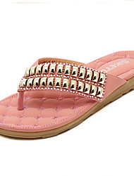 Women's Shoes Flat Heel Flip Flops/Open Toe Slippers Casual Beige/Coral