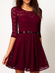 Women's Vintage Inelastic ½ Length Sleeve Above Knee Dress (Lace)