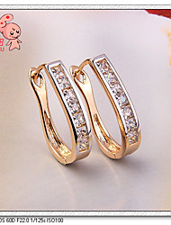 KuNiu Women's Classic 18K Gold Plated Semi-precious Hoop Earrings ER0204