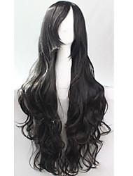 Femme Noir Cheveux Synthétiques Fabriqué à la machine Perruque de Cosplay