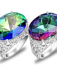 cadeaux de la famille classique ovale arc de feu topaze mystique bijou 925 anneaux du compte de l'argent pour la noce 1pc casual