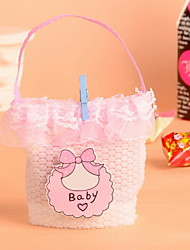 Bow Pattern Baby Romantic Wedding Favor Candy Bag Baby Favor Candy Hand Bag  Set of 12