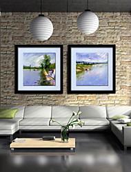 живопись маслом украшения абстрактный пейзаж ручной росписью холст с натянутой в рамке - набор 2