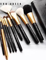 10 animal natural cerro cabelo escova de maquiagem qreen configurar conjuntos de escova de haste preta parte tubo de ouro do e-mail