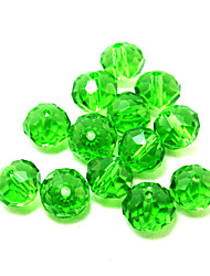 Beadia 80PCS Glass Facetted Crystal Beads 8x10mm Flat Round Shape Green Color DIY Spacer Loose Beads