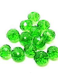 beadia 80pcs de vidro de cristal contas facetadas 8x10mm planas forma redonda de cor verde espaçador diy pérolas soltas