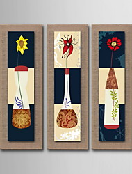 Oil Painting Decoration Abstract Flowers Hand Painted Natural linen with Stretched Framed - Set of 3