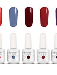 Gelpolish Nail Art Soak Off UV Nail Gel Polish Color Gel Manicure Kit 5 Colors Set S106