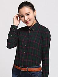 JAMES Autumn Women's Cotton Long Sleeve Shirt/ Blouse with Deep Green-Red Plaisd & Checks Casual Fashion