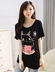 Women's Casual/Print Stretchy Short Sleeve Long T-shirt (Cotton Blends)