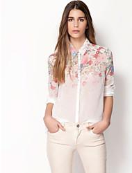 Camisas Casuales ( Poliéster )- Casual/Impresión Cuello de camisa Manga Larga
