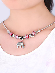 TopGold Cute Elephant Charms European Beads Choker Necklace Tibetan Silver Plated Jewelry for Women High Quality 50CM