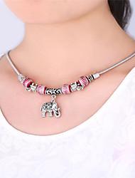 topgold bijoux pour les femmes de 50cm de haute qualité plaqué charmes d'éléphants mignons européen collier de perles de collier en argent