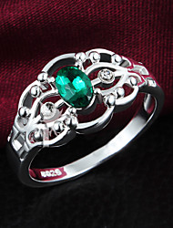 925 Silver Plated Party/Daily Emerald Statement Rings 1pc