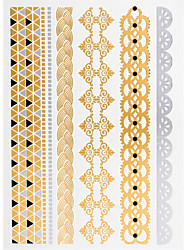 4PCS Summer Flash Tattoo Gold Tattoo Metallic Tattoo Taty Tatouage Temporary Tattoo Sticker Metal Tatoo Fake Tatto