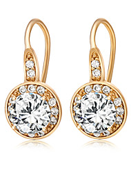 Women's Elegant 18K Gold Plating Round Inlay Zircon Earrings