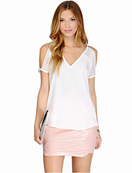 Women's Solid White Blouse , V Neck Sleeveless