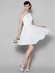 Knee-length Georgette Bridesmaid Dress A-line One Shoulder Plus Size / Petite with Side Draping / Criss Cross