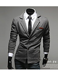 Men's Work/Formal Pure Long Sleeve Regular Blazer (Lycra/Organic Cotton/Polyester)