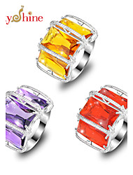 Lucky Shine Women's Men's Unisex 925 Silver Three Fire Brazil Citrine Amethyst Quartz Crystal Gemstone Wedding Rings