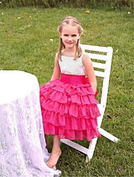 Flower Girl Dress Tea-length Chiffon/Satin/Velet Chiffon Beading Tiered Ball Gown Sleeveless Dress