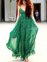 Women's Party/Cocktail Sexy Dress,Floral Maxi Sleeveless Green Summer