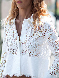 Women's Solid White Shirt , Shirt Collar Long Sleeve Lace