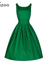 De las mujeres Corte Swing Vestido Casual Un Color Hasta la Rodilla Punto Romano
