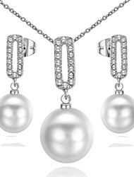 T&C Women's Noble Pearl Jewelry Sets 18K White Gold Plated Use Austrian Crystal Waterdrop Pendant Necklace Earrings Set