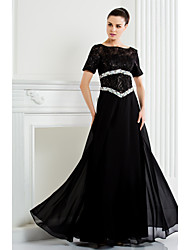 Lanting Bride® A-line Plus Size / Petite Mother of the Bride Dress Floor-length Short Sleeve Chiffon / Lace with Beading
