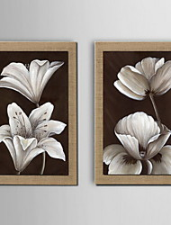 peinture à l'huile décoration fleur peinte à la main lin naturel avec la main tendue encadrée - ensemble de 2