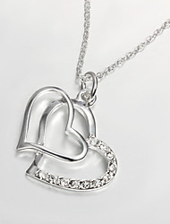 925 Silver Plated Fashion Dual Hearts Pendant Necklaces Party/Daily 1pc